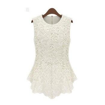 cee11be95 Verano de 2019 nueva marca de moda Casual cuello redondo Vintage sin mangas  de las mujeres Crochet encaje de gasa blusa Plus tamaño blanco y negro