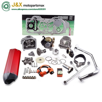 GY6 50 80 Upgrade 100 CC Racing Exhaust Muffler ERG Cylinder Kit 64mm Arms Camshaft Careburetor Oil pump Gear CDI Coil Gasket