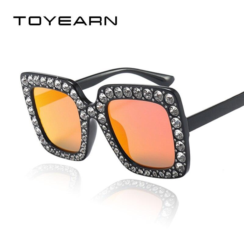TOYEARN 2018 Nouvelle Mode Carré lunettes de Soleil Femmes De Luxe Marque  Designer Vintage Diamant Cadre Miroir Lunettes de Soleil Pour Femme UV400  dans ... 6dbb17c93bfb
