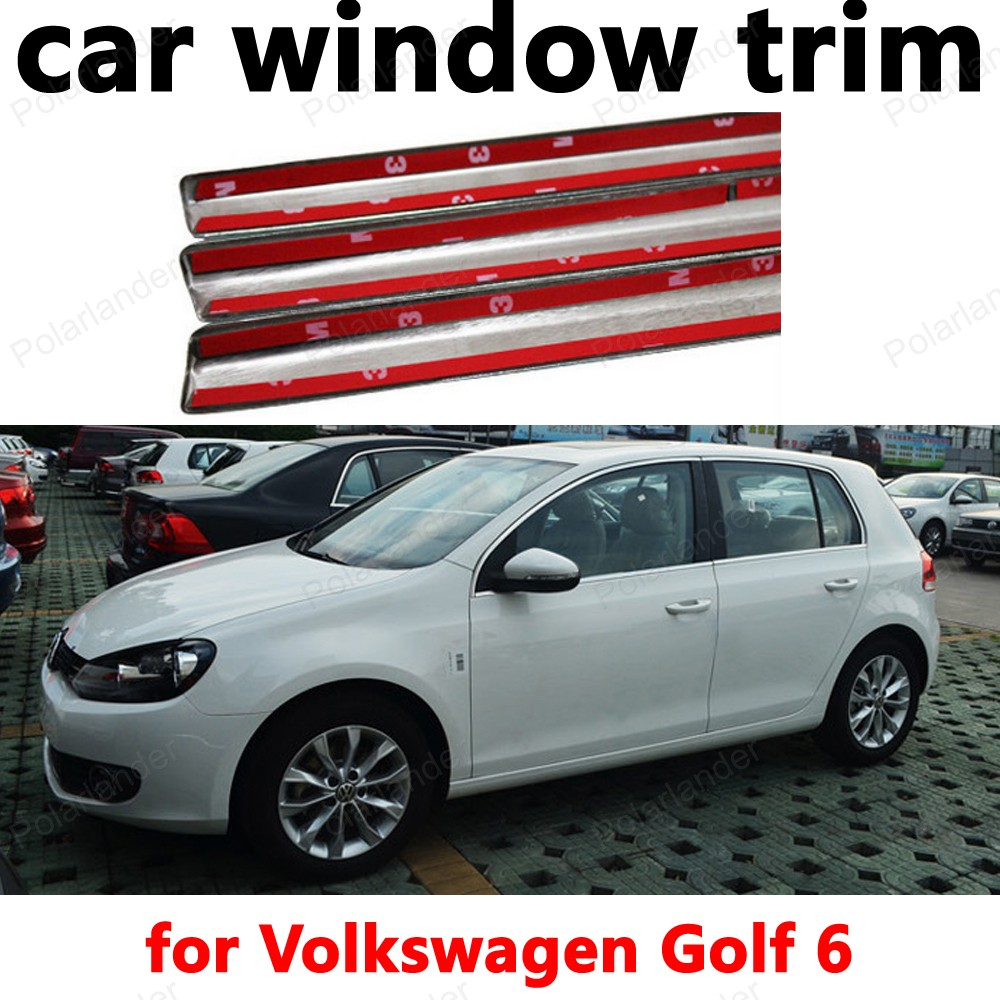 for Volkswagen Golf 6 Car Exterior Accessories Styling Window Trim Stainless Steel Decoration Strips car styling stainless steel for volkswagen polo window trim without center pillar decoration strips