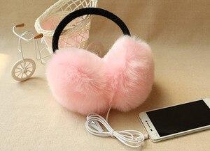 Image 1 - New Arrival Plush headphones winter Headset ear warmer earmuffs music Cartoon earmuffs Headphone for Girls