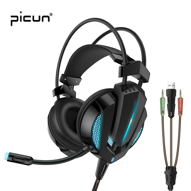 Picun G9 Professional Gaming Headphones with Cool Led Lights Vibration Heavy Bass Headsets with Microphones for Gaming Pc Phones