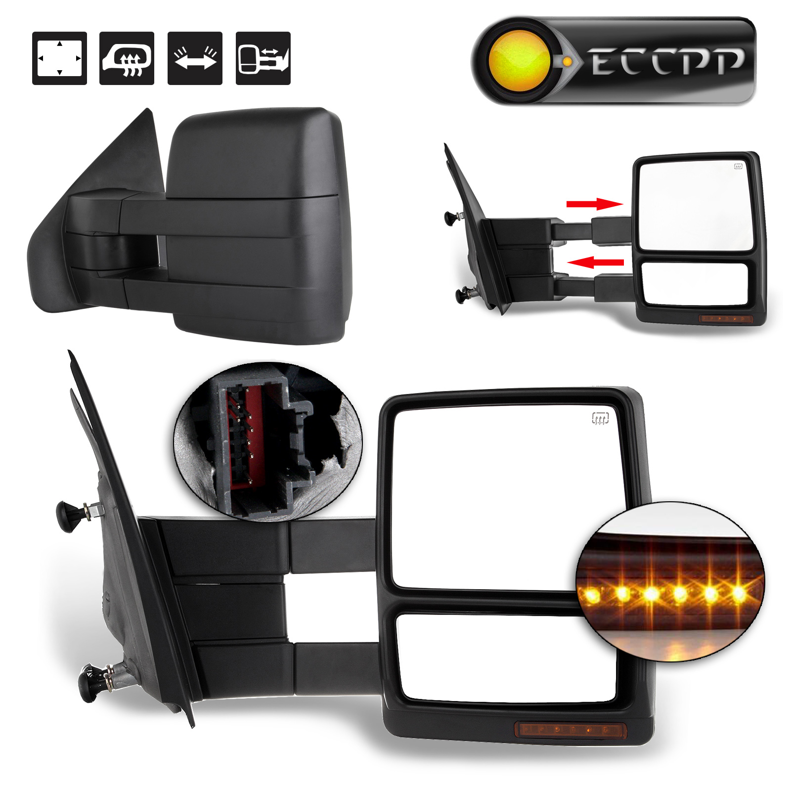 Eccpp power heated towing mirror for 2004 2005 2006 ford f150 truck turn signal puddle light