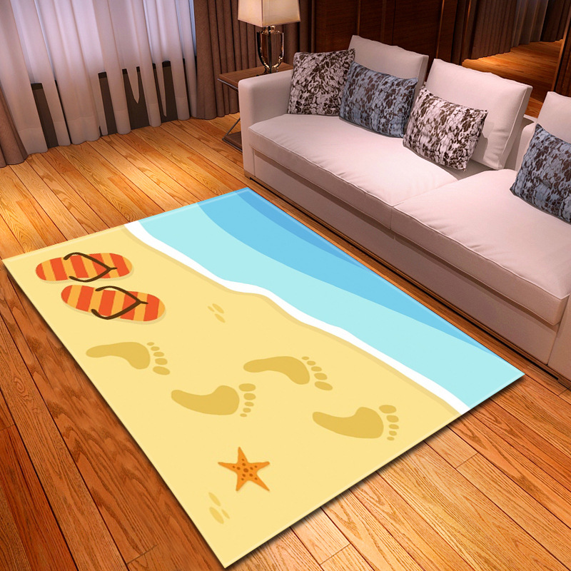 6mm 3D Beach footprint pattern carpets for Living Room Bedroom Rectangle Home Decor rug Coffee Table Mat Bath Absorb Water Rugs6mm 3D Beach footprint pattern carpets for Living Room Bedroom Rectangle Home Decor rug Coffee Table Mat Bath Absorb Water Rugs