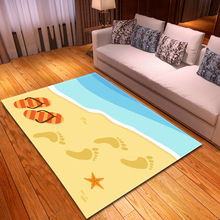 6mm 3D Beach footprint pattern carpets for Living Room Bedroom Rectangle Home Decor rug Coffee Table Mat Bath Absorb Water Rugs beach tidewater pattern water absorption area rug