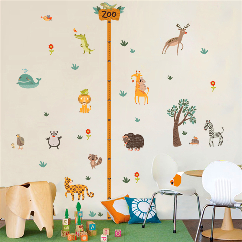 zooyoo cartoon jungle wild forest animals zoo height measure wall sticker for kids room pvc lion zebra growth chart wall decals
