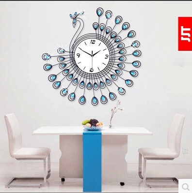 Online Shop Fashion modern design wall clock peacock clock living   Online Shop Fashion modern design wall clock peacock clock living room  diamante large wall clocks   Aliexpress Mobile. Clocks For Living Room. Home Design Ideas