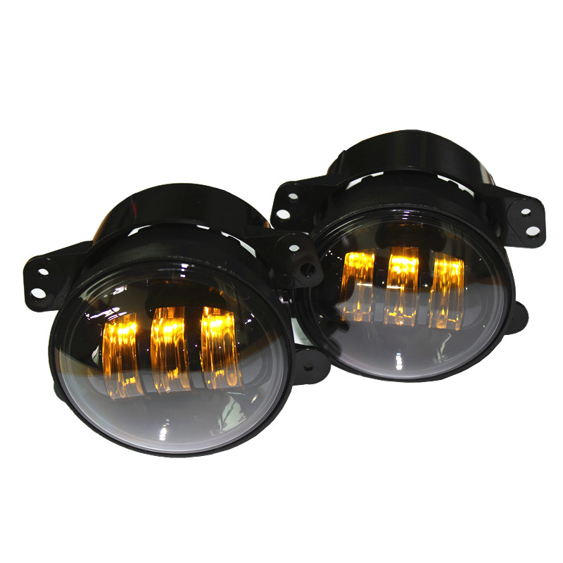4 Inch Amber Yellow 60w Led Fog Lights For Jeep Wrangler