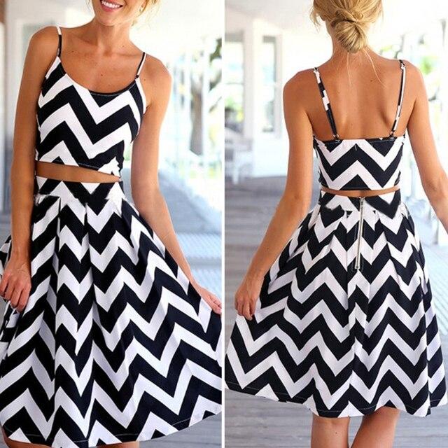 93e3753cf 2 peça Set conjuntos de roupas femininas verão mangas Top curto E impressão  Saia branco preto