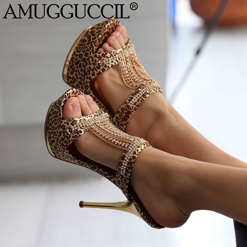 2018 New Plus Big Size 34-43 Gold Black Rhinestone Fashion Sexy High Heel Platform Summer Female Womens Lady Sandals L695 big size 34 43 fashion womens shoes 7 5cm high heel slippers summer solid concise lady sandals square heels female flip flops