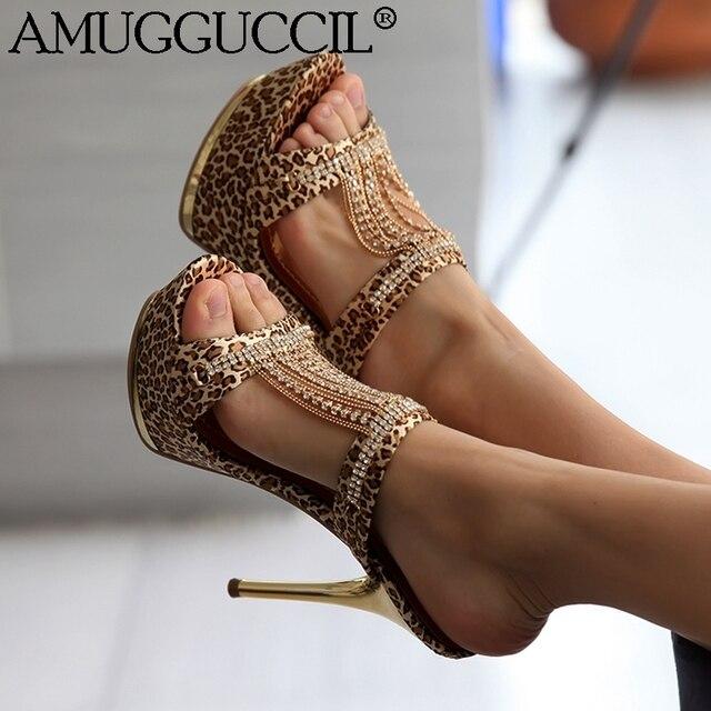 d3c15b46beb03 2019 New Plus Big Size 34-43 Gold Black Rhinestone Fashion Sexy High Heel  Platform Summer Female Womens Lady Sandals L695