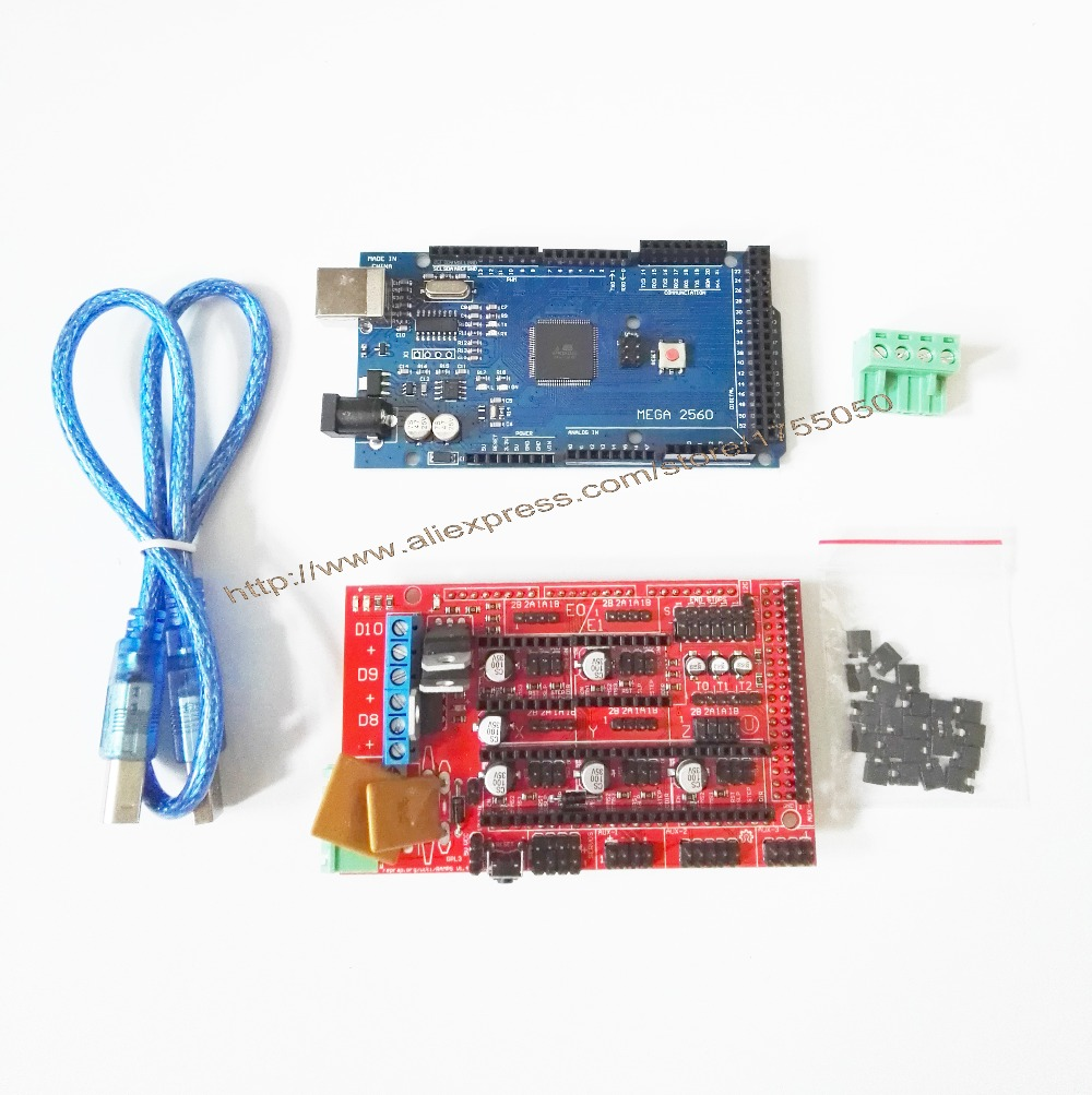 Free Shipping 1pcs Mega 2560 R3 Mega2560 REV3 + 1pcs RAMPS 1.4 Controller for 3D Printer forarduino kit Reprap MendelPrusa