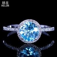 6,5 мм круглый разрез твердое 10 к белое золото 1.44ct голубой топаз натуральные Алмазы обручальные кольца женские свадебные драгоценные камни М