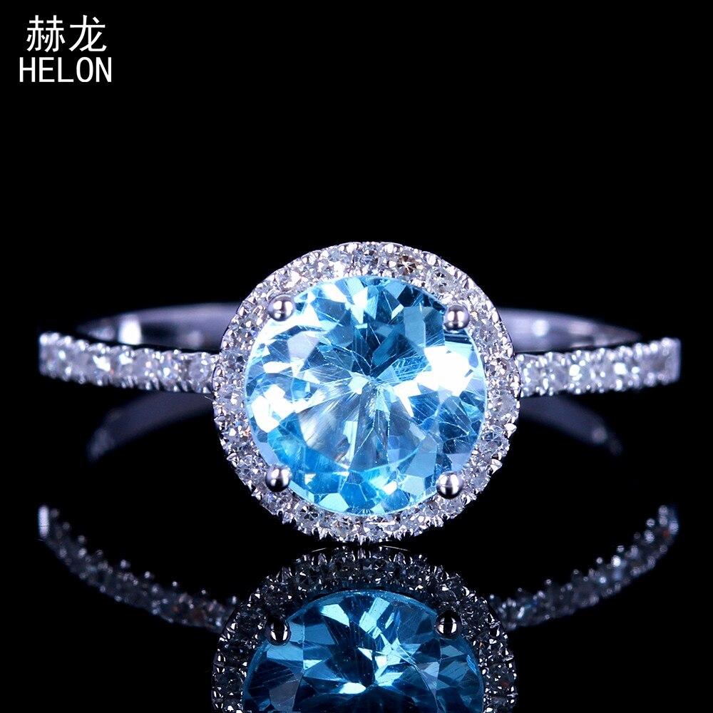 6.5mm taille ronde solide 10 k or blanc 1.44ct topaze bleue diamants naturels bague de fiançailles femmes mariage pierres précieuses bijoux à la mode