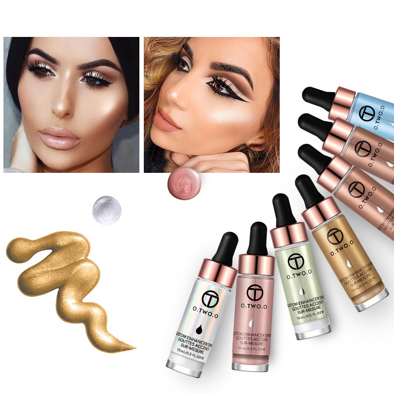 Rose Liquid Highlighter Make Up Highlighter Cream Concealer Box Face Glow Ultra-concentrated Illuminating Bronzing Drops Makeup