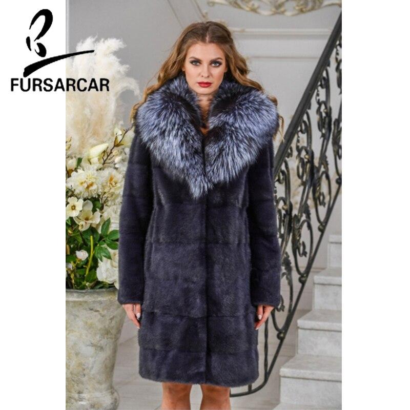 Fursarcar Veste 2018 Avec Femmes De Taille Fourrure Vison Nouvelle Épais Fox Hiver Luxe Chaud Plus Naturel Col Silver ZuiTPXkO