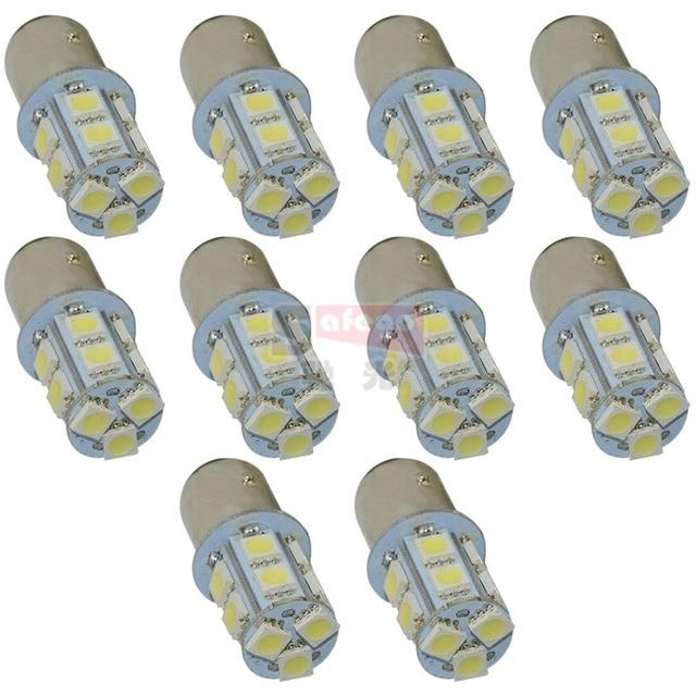 Safego 10 adet P21W 1156 1157 LED dönüş sinyali ampul 5050 13 SMD S25 BAY15D BA15S araba fren park lambaları park lambası 12V beyaz