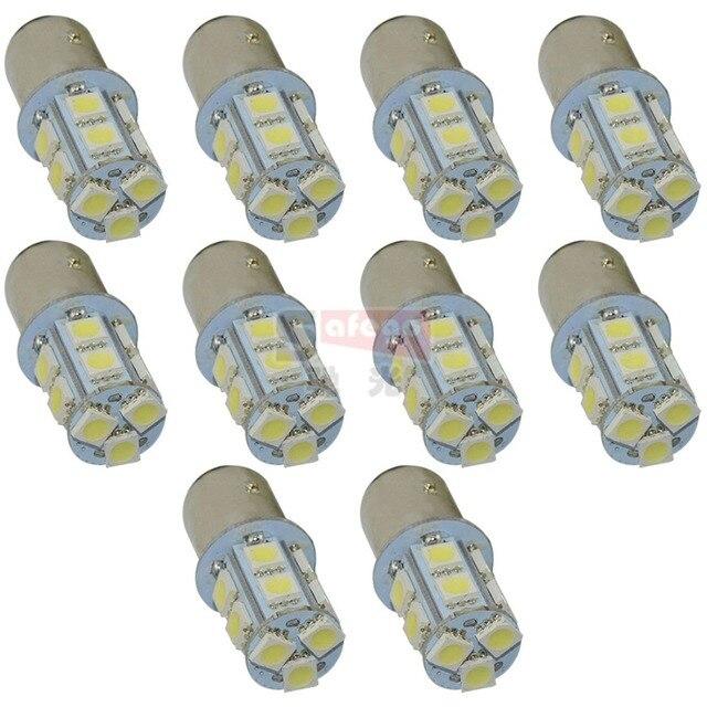 Safego 10pcs P21W 1156 1157 LED Turn Signal Bulb 5050 13 SMD S25 BAY15D BA15S Car Brake Tail Lights Parking Light 12V White