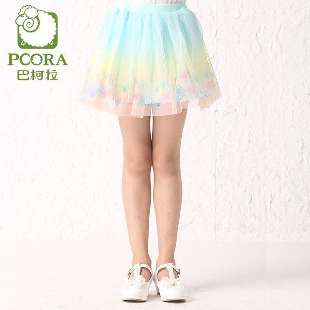 PCORA Girls Rainbow tutu Skirts Summer Lace tutus 2016 Kids Girls Mini Skirts Sweet/Cute Girls Flower Skirts Clothes Quality