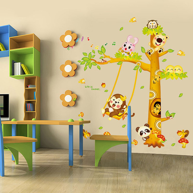 kindergarten Wall Stickers For Kids Rooms Animal Decals Monkey ...