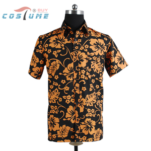 Fear and Loathing in Las Vegas Raoul Duke Orange Shirt For Men Halloween Cosplay Costume Plus Size