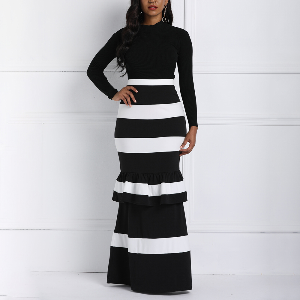 Women Mermaid Long Skirts Ruffle Striped Color Block Vintage Zipper Floor-length Skirts Female Party Pencil Trumpet Maxi Skirts