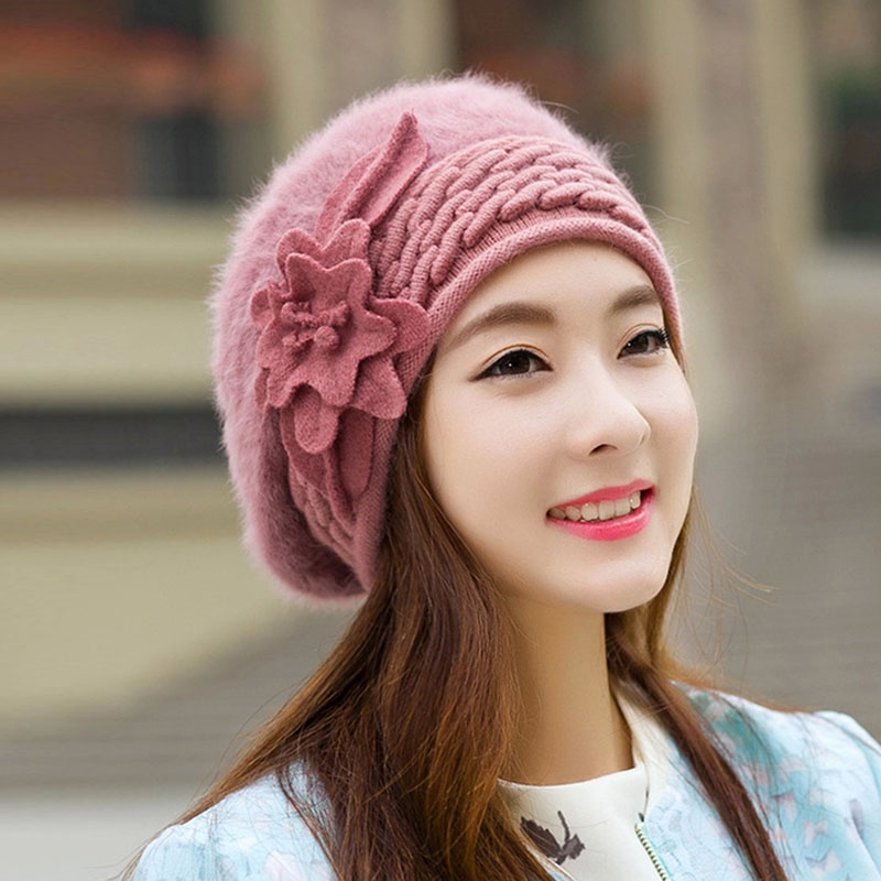 Autumn Winter Fashion New Arrive 2016 Women Style Hats For Women Fake Fur Flower Warm Ear Protection Wool Lady Caps brand new autumn winter flower women