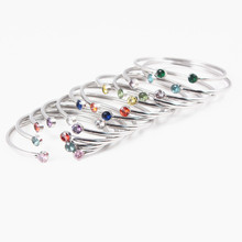 Mix Color Crystal Cuff Bracelets Silver Stainless Steel C Open Adjustable Bracelets & Bangle for Women Girls Jewelry