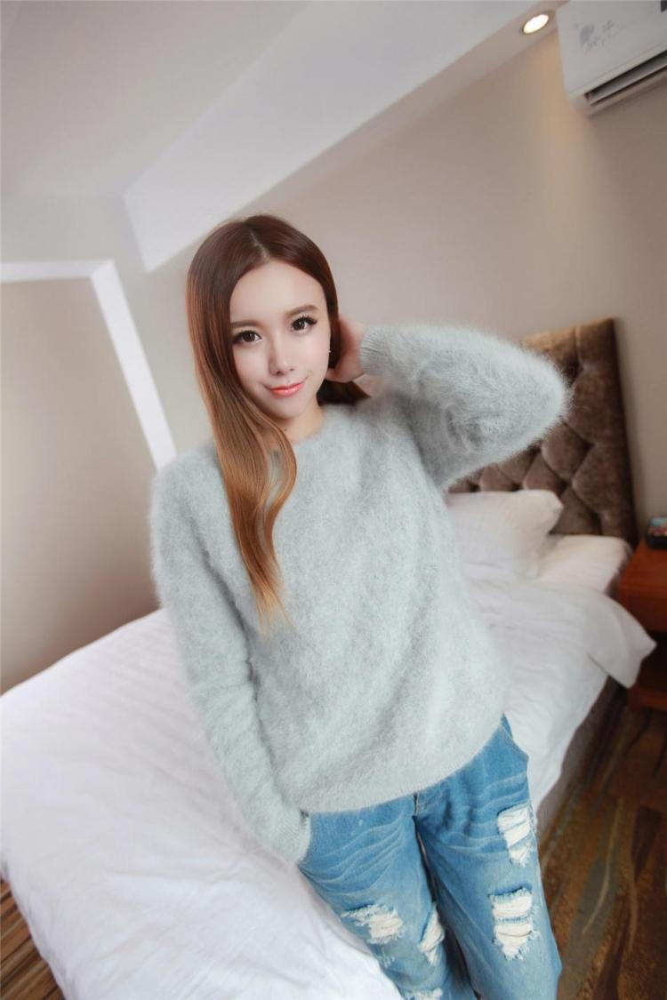 Cashmere Sweater Women Sweaters and pullovers Pure Mink Cashmere Knitted Pullover ladies sweater-in Pullovers from Women's Clothing    3