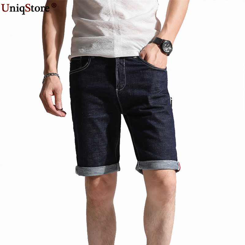 Uniqstore Stretch Slim Straight Mens Jeans Short Pants Fashion Casual Zipper Fly Full Length Denim Cotton Button Fly ...