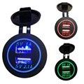 12V-24V Universal Waterproof Dual USB Car Charger Car Cigarette LED Lighter Charging Socket