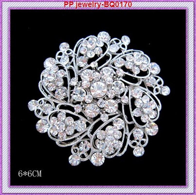 Цена посеребренный Прозрачный кристаллический цветок девочки Свадебный костюм брошь