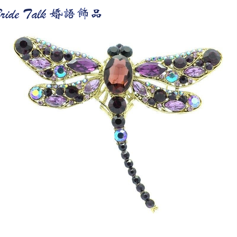 Fashion New Design Dragonfly Brooches Rhinestone Pin Crystal Insect Brooch for Women Dress Purple 5684