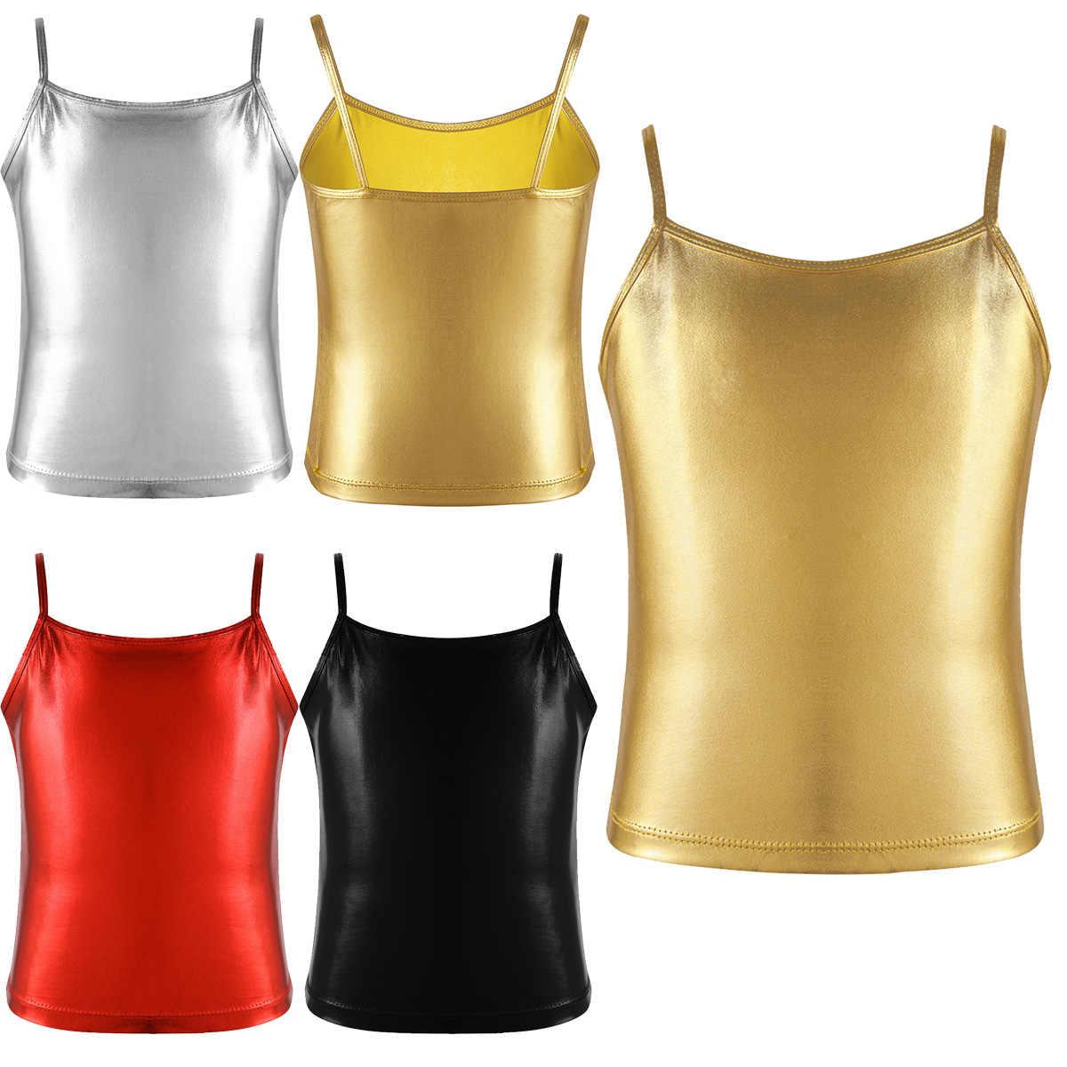 MSemis chico chicas metálico brillante Camiseta tanque de baile de Ballet Gimnasia Rítmica concurso disfraz de escenario actuación ropa