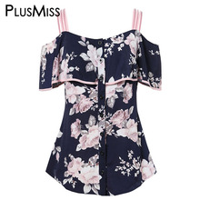 цены PlusMiss Plus Size 5XL Flounce Ruffle Off Shoulder Floral Printed Blouse Women Clothes Big Size Summer Tunic Tops XXXXL XXXL XXL