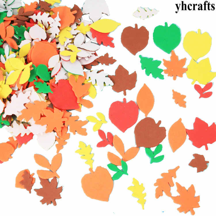1bag/LOT.Autumn leaf foam stickers,20 design.Wall stickers,Early educational diy toys kindergarten crafts Activity items OEM