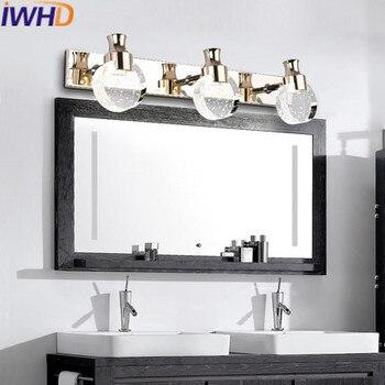 Iwhdクリスタledミラー壁ランプアルミ壁取り付け用燭台ウォールライト現代ホーム照明器具ファッションアルミlamparas
