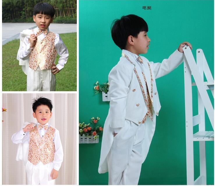 New 5 pcs Children s Stage Clothes Flower Girl Dresses Tuxedo Suit Boys Wedding Clothes Boys