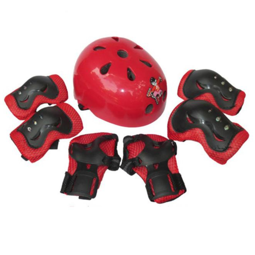 Premium Outdoor Sports Head & Knee Elbow Protector 7pcs Kid Child Self Balancing Bike Roller Knee Elbow Wrist Helmet Pad