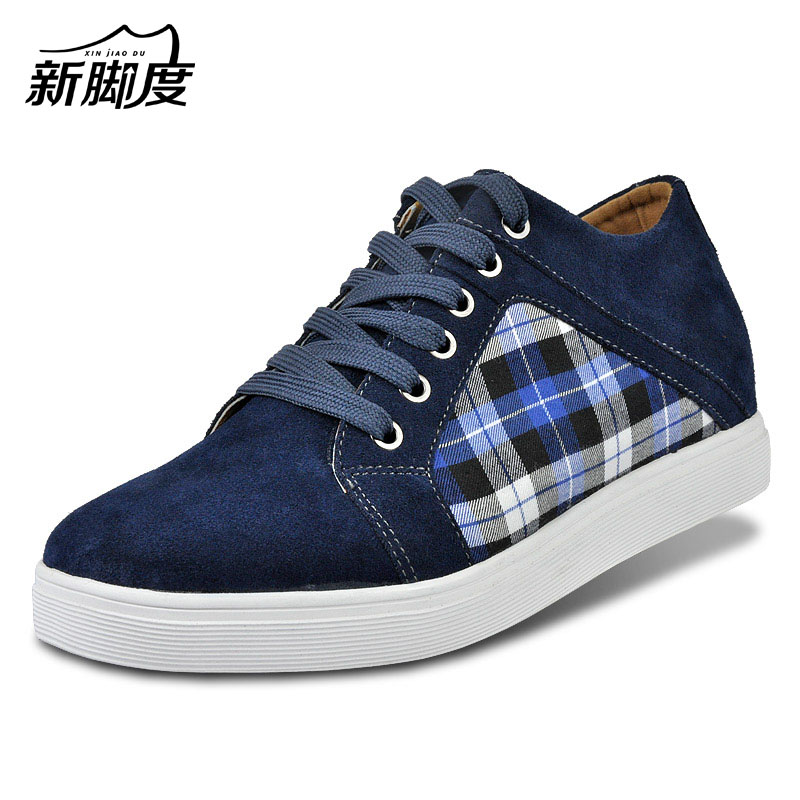 X5567-1 Quality Suede Lattice Shoes for Men Walk Taller 6CM,Casual Height Increase Elevation Shoes Match Jeans Brow/Gray/Blue fashion small lattice and tiny floral pattern 6cm width tie for men