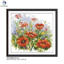 Joy Sunday Beautiful Flowers Pattern DMC Chinese DIY Hand Cross-stitch Embroidery Needlework 11CT Printed Fabric 14CT Canvas