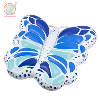 250cm blue butterfly inflatable swimming pool floating riding swimming ring Water Game Toys For Children Adult Beach Lounger