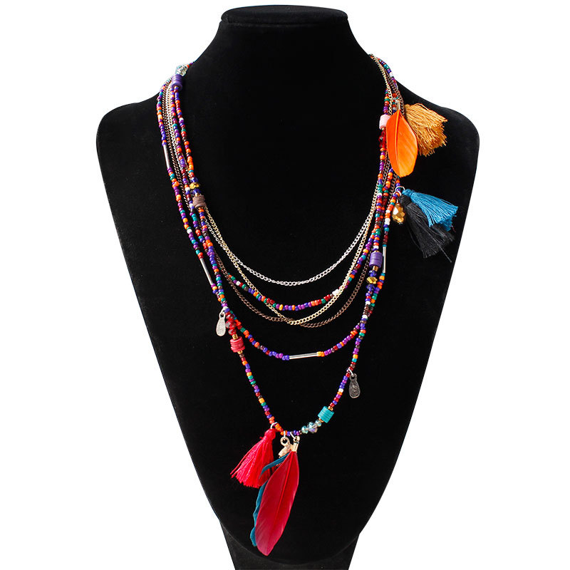 2017 Ethnic Bohemian Choker Necklace Women Multilayer Beads Feather Pendants Statement Maxi Collares Collier wedding Jewelry