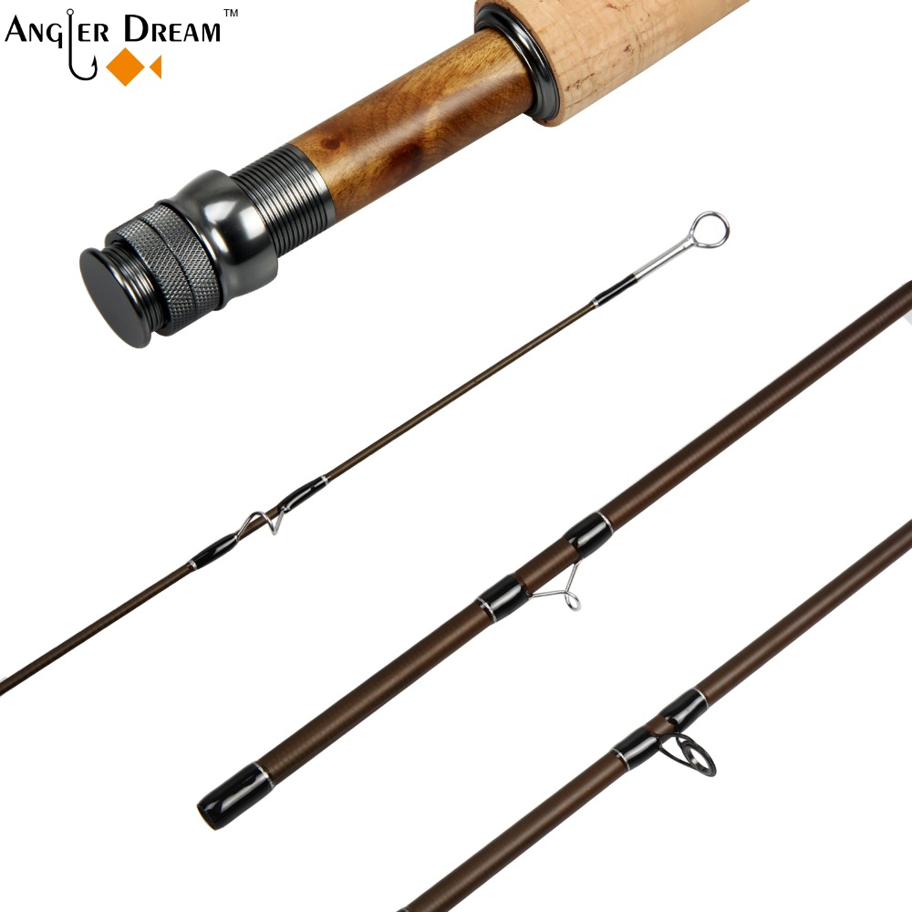 3/5/8 WT Fly Rod with Extra Tip Graphite IM 8 / 30T Carbon Fiber Matt Brown Fly Fishing Rod CNC Machined Aluminum Reel Seat
