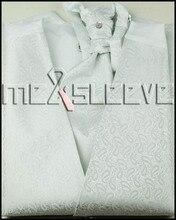 hot sale  Men's white small paisley waistcoat Set for Suit (vest+ascot tie+cufflinks+handkerchief)