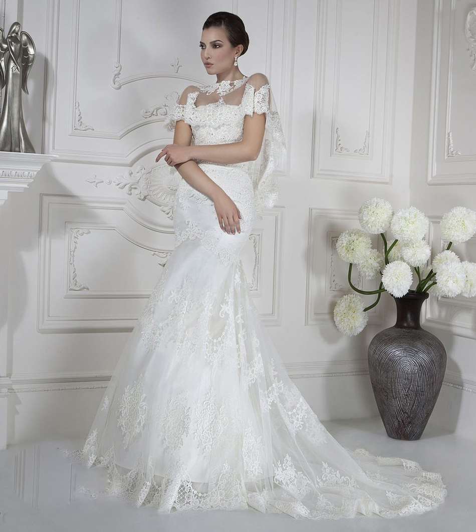 Graceful See Though Strapless Lace Illusion Wedding