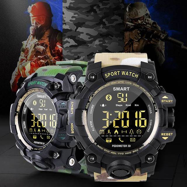 Camouflage Waterproof Bluetooth Sports Pedometer Steps Counter Wrist Alarm Clock