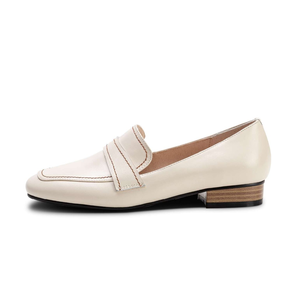Lenkisen 간결한 브랜드 낮은 발 뒤꿈치 봄 가을 클래식 광장 발가락 슬립 암소 가죽로 퍼스 수제 데이트 파티 펌프 l18-에서여성용 펌프부터 신발 의  그룹 2