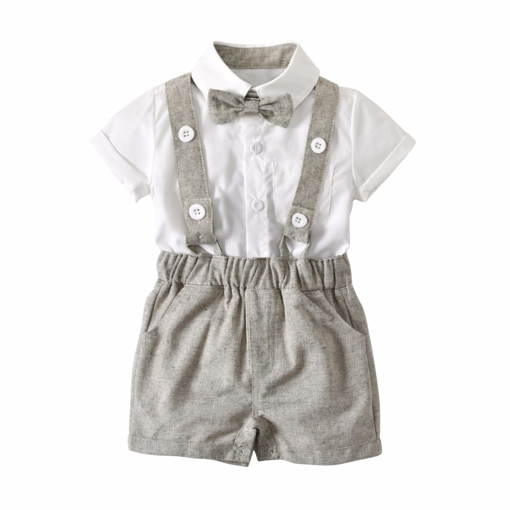 2018 Baby Boys Clothes Set Gentleman Outfits Suits Infant Short Sleeve Shirt+Bib Pants+Bow Tie Overalls first birthday boy party