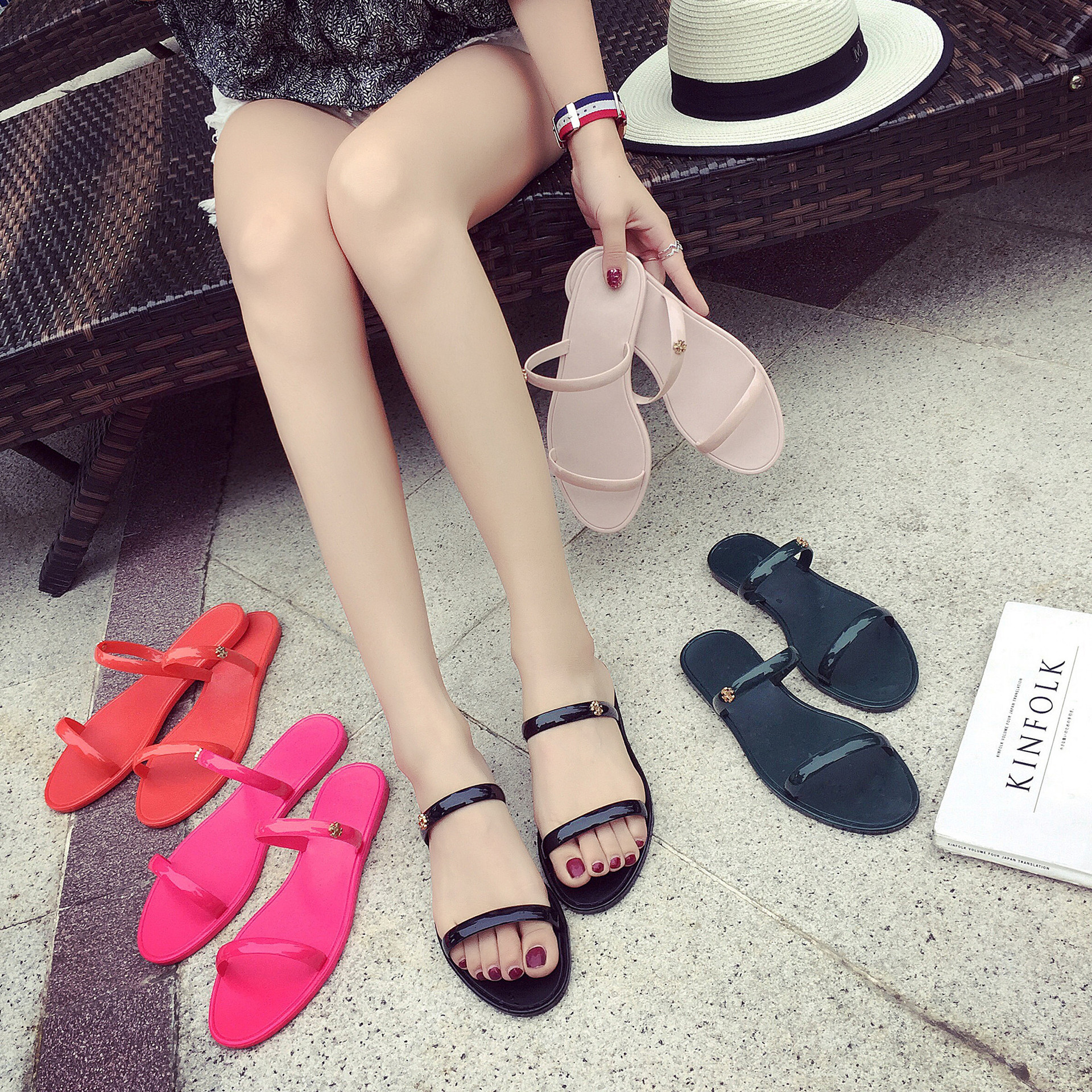 2018 Summer Casual Style Jelly Shoes Women Sandals Flats Rivet Slippers Fashion Holiday Beach Woman Shoes Flip Flops Size 36-40